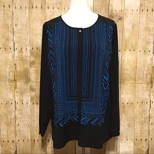 Susan Graver Black and Blue Blouse XL